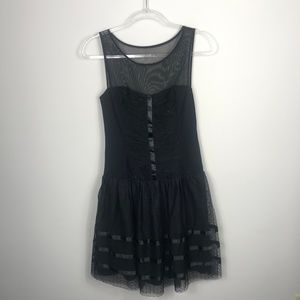 Betsey Johnson Black Sleeveless Chiffon Dress